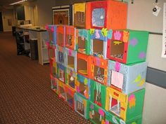 There is a wall of Kitty Forts outside of our Teen Librarian's office. She organized teens in a craft project to make homes for kittens at the Humane Society in Westland, MI.