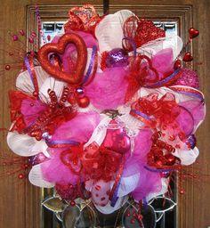 Deco Mesh LOTS of HEARTS VALENTINES Wreath by decoglitz on Etsy