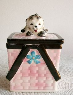 Vintage Puppy in Basket Cookie Jar