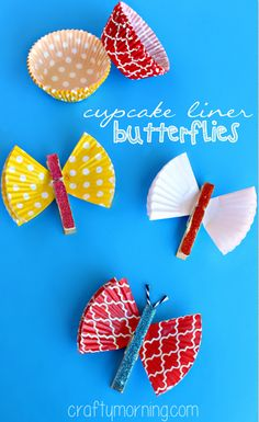 Cupcake Liner & Clothespin #Butterfly Craft #Kids art project #DIY Magnets | CraftyMorning.com