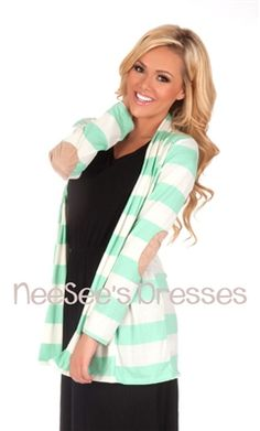 Mint and Ivory Striped Elbow Patch Cardigan mint, elbow patch