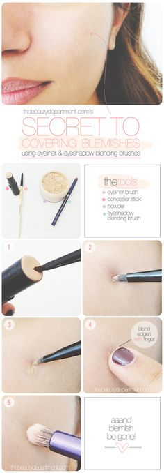 Spot conceal with an eyeliner brush + set with an eyeshadow blending brush!