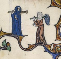 In this lovely marginal image, two fashionably dressed ladies set off on an outing. The net held by one of them indicates that they are chasing butterflies, but the artist does not depict the prize they seek. He leaves it to us to imagine the rest of their day-the fun of chasing and catching butterflies is ours. Checkmate! Medieval People at Play. The Walters Art Museum, Baltimore. 2010. [Created for use at Saint-Bénigne, Dijon (diocese of Langres), late 13th century]