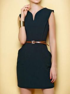 Wool A-Line Vest Dress with Belt - Choies.com