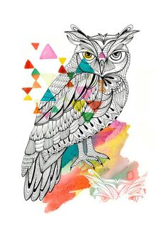 OWL LINES - Watercolor Painting Print paint print, owl