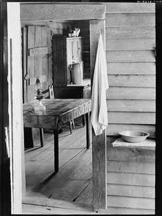 Washstand in the dog run and kitchen of Floyd Burroughs' cabin. Hale County, Alabama (LOC) by The Library of Congress, via Flickr