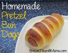 Homemade pretzel bun dogs, pretzel bun dog recipe, better than Weinerschnitzel