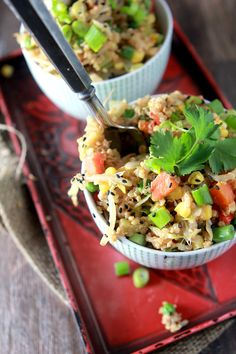 Quinoa Fried Rice- Seriously?!?! Quinoa, tahini, and Braggs liquid aminos? How am I not eating this everyday!!