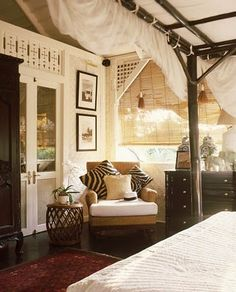 I live this safari inspired bedroom