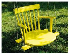 I believe this was made from a thrift-store chair with the legs cut off and a coat of paint.  You could do this too!