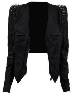 Black Jacket With Shoulder Spikes.