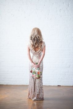 glam gold sequins. #gown #wedding #zappos