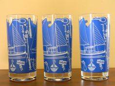 3 Nautical Georges Briard Glasses by TreasuresFromMaine on Etsy, $30.00