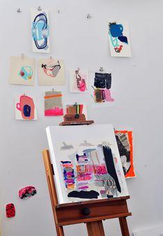 hanging art, studio spaces, jenni pennywood, art paintings, painting art, kid art, easel, artist jenni, art walls