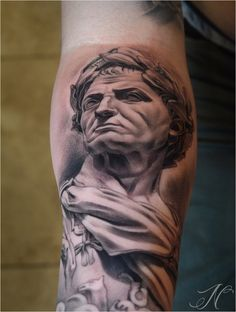 tattoo idea, caesar bust, julius caesar, artist tattoo, bust tattoo