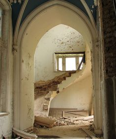 Tower stairway...note the architectural detail on each side of the arched doorway.