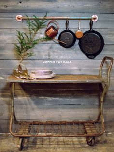 DIY Copper Pot Rack | Photography by WhiteLoftStudio.com | How To Instructions Here: http://www.stylemepretty.com/living/2013/03/12/diy-copper-pot-rack | DIY Project on #SMPLiving