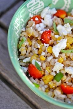 Warm Barley Salad with roast corn, tomatoes  feta from Cooking with my Kid