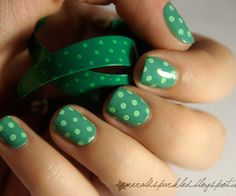 green polka dot nails