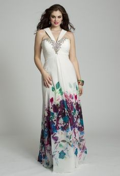 Fun and flirty is this plus-sized refreshing burst of spring style by designer Jovani.  Go to your Prom in bloom when you wear this chiffon halter dress with a sweetheart neckline and shirred bodice with chunky, centered multi-color beadwork.  It's perfect as a guest of Wedding dress for a day affair but you can also wear it to a cocktail party or any destination event.It looks great with a colorful, pleated satin clutch evening bag, high heel platform rhinestone sandals and casted drop e...