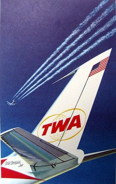 TWA promotional graphic of a Boeing 707, circa 1962