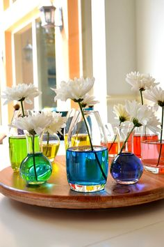 Rainbow centrepiece - coloured water