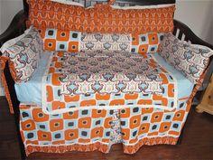BEST OFFER  Retro Blue and Orange Crib Bedding by Pish Posh by PishPosh, $300.00 USD