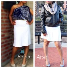 The skirt I made a few years ago on the left and the skirt I turned it into on the right..