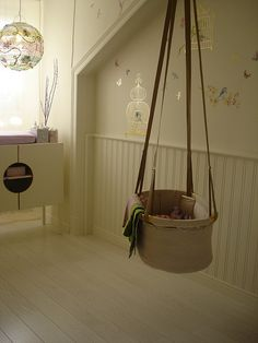 Hanging baby bed. Great idea! Wish I had thought of this before I had my babies!