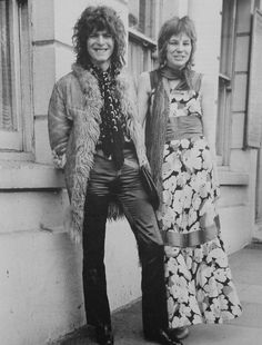 Angie and David Bowie on their wedding day at Bromley Registery Office on 20th March 1970