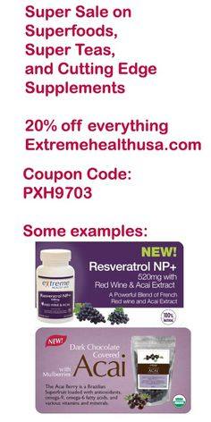 Pinterest Sale - Extremehealthusa.com features some of the highest quality organic superfoods, super teas and high potency cutting edge natural supplements - with this coupon you enter at checkout you will get 20% off any product or combination of products at http://www.extremehealthusa.com