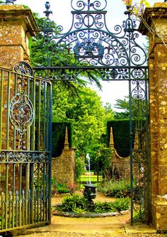 "Blue Pueblo:  ""Courtyard Gate, Devon, England"""