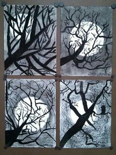 "2nd Grade ""Tree Silhouette"" paintings. Elementary Art. Tempera over charcoal."
