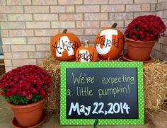 Our pregnancy announcement pumpkin announc, pregnancy announcements, pregnanc annouc, fall pumpkins, pregnanc announc