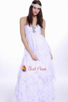 White Strapless Empire Waist Beaded Chiffon Prom Dress, Chiffon Ruffle Bottom Gown Prom Dress, Chiffon Beaded Illusion Prom Dress