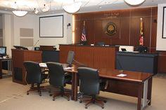 A closer look at the Stevenson University Francis X. Pugh Courtroom.