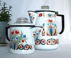 Vintage Scandinavian folk art enamelware.