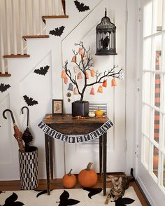 Trick or treat sign, Owl frame, & tree...could spray paint tree branch black