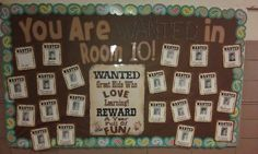 """""""You are Wanted in _____ (Room 101, Ms. Heidi's Class, etc) is a cute theme for a Back to School bulletin board display.  This display features Wanted Posters with student photos and the middle poster says """"WANTED: Kids Who Love Learning!  REWARD: A Year Full of Fun!"""""""