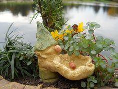 Gnome Mini Birdbath...offered exclusively by WholesaleFairyGardens.com.