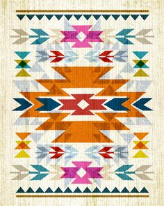 Native American / Navajo Inspired - Bright, Colorful & Graphic Art Pattern Poster Print.