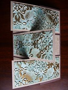 a handmade card with two arty techniques: faux patina and modified gate fold ...
