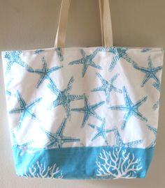 Handmade Beach Bags: http://beachblissliving.com/handmade-beach-bags-starfish-coral-chevron/ Starfish bags, coral bags, anchor bags.