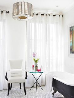 Black accents add classic elegance to any room.