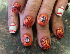Detroit Tigers Nails #Tiger stripes #Detroit tigers #Baseball nails