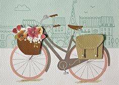 A Bike in Paris Blank Card & Envelope