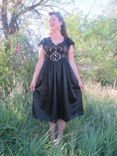 Vintage Black Lace Lingerie Satin Dress