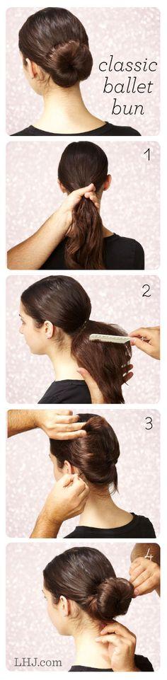Classic Ballet Bun diy hairstyles, teacher hairstyles, chignon