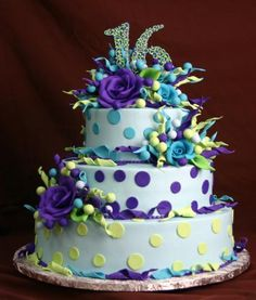 sweet 16 cakes, color combo, konditor meister, tc007, 16th birthday cakes