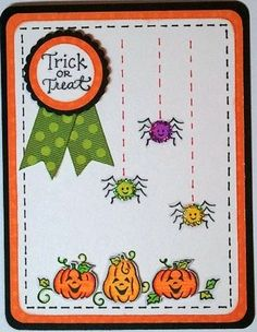 Halloween Card - Spider Pumpkins by christyscraftcorne - Cards and Paper Crafts at Splitcoaststampers